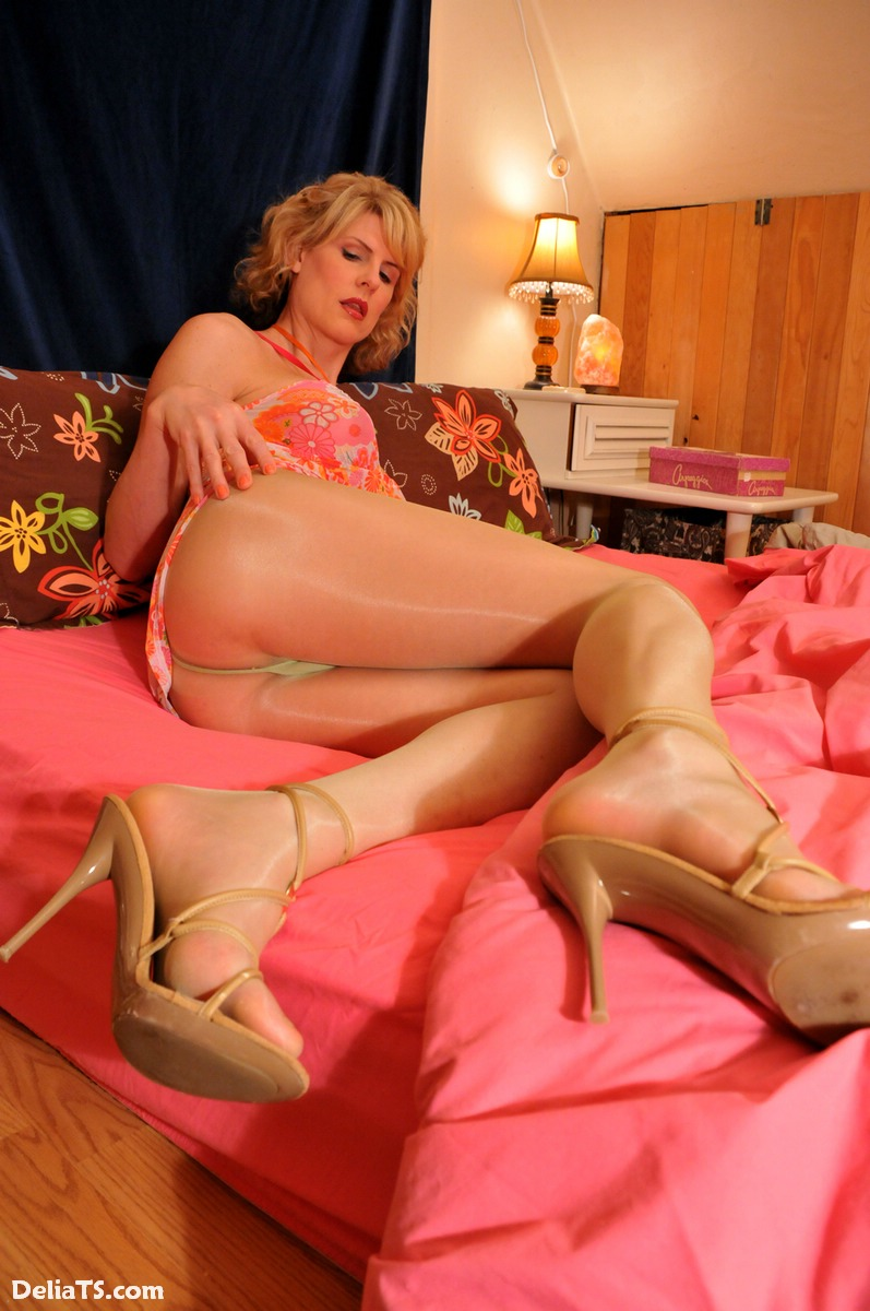 Delia hard cock in sheer pantyhose